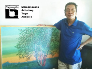 "Villan with one of his works, ""The Family Tree"""