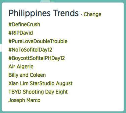 Within just 30 minutes of its first mention, #NoToSofitelDay12 and #BoycottSofitelPHDay12 climb up the 4th and 5th spots of Twitter's Philippines Trends.