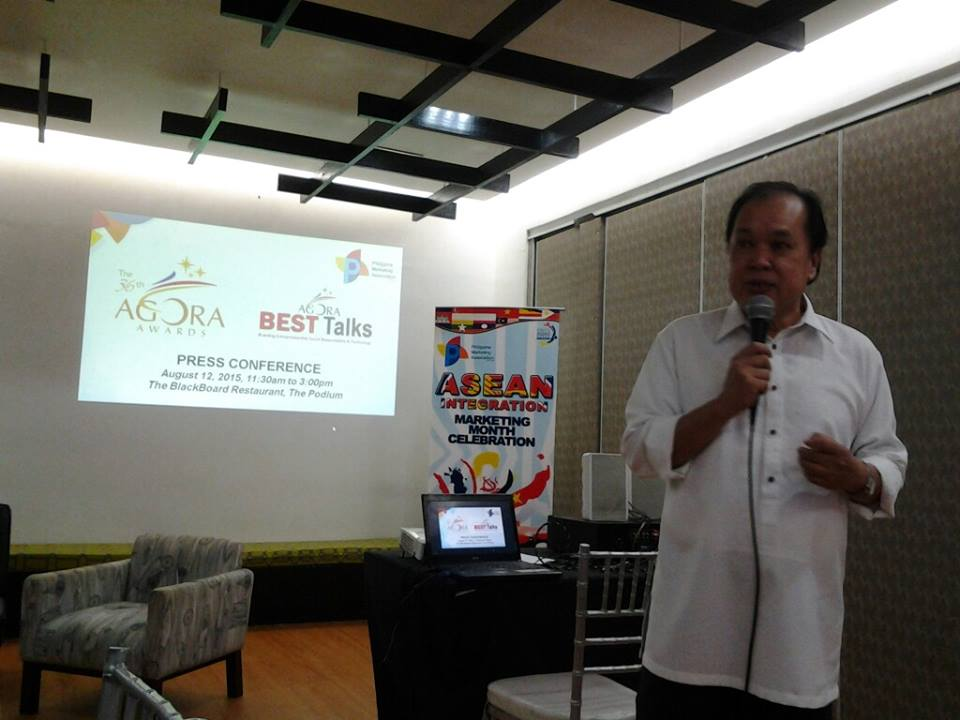 PMA President Henry S. Tenedero delivered an inspiring welcome remarks during the media briefing for the 36th Agora Awards and Agora Best Talks held at The Blackboard in Ortigas Center, Pasig City today.