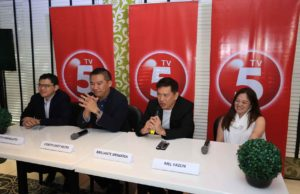 Photo shows from left: Lloyd Manaloto, Head of Digital 5 and of Network Marketing, TV5 ; Chot Reyes, President, TV5 ; Brillante Mendoza ; Mel Yazon, First Vice President and Head of programming and acquisition.