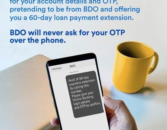 "BDO to online bankers: ""Never share your OTPs!"""