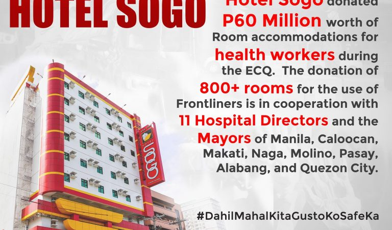 Hotel Sogo offered P60M room accommodations for FREE to PH Medical Frontliners