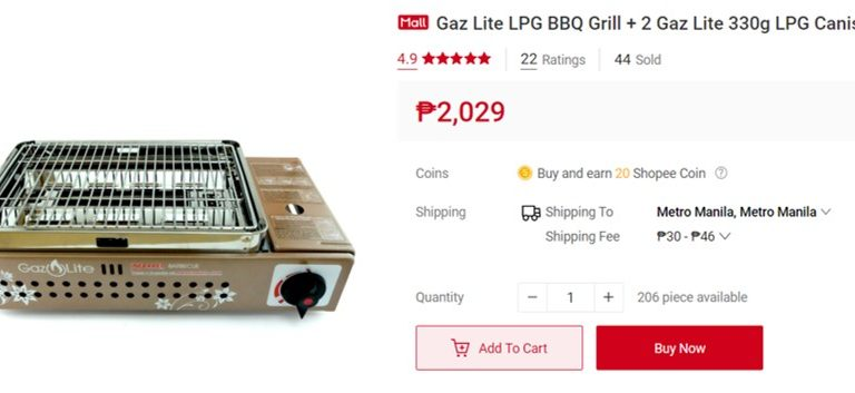 A Shopee Treat for Foodies: Gaz Lite LPG BBQ Grill + 2 Gaz Lite 330g LPG Canisters on up to 15% discount