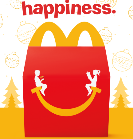 Donate a book or toy to another child with McDonald's Happy Meal Buy 1 Share 1