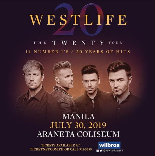 WESTLIFE 'The Twenty Tour' Celebrating 20 Years of Hits