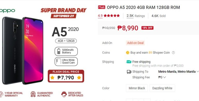 Grab a new phone during Oppo Brand Day Exclusive Deal up to 18% off via Shopee on September 29