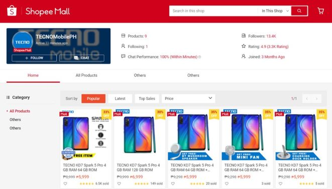 Tecno LD7 POVA mobile phone is now available exclusively on Shopee